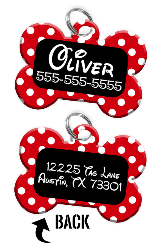 Double-sided Red & Black Polka Dot Custom Dog Tag Personalized for Pets with Name & Number on the front & address on the back (Disney pet tag themed) - EliteFanCo