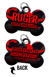 Double-sided Camo Red Custom Dog Tag Personalized for Pets with Name & Number on the front & address on the back