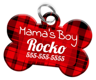 Mama's Boy Dog Tag for Pets Personalized Custom Pet Tag with Pets Name & Contact Number [Multiple Font Choices] [USA COMPANY]