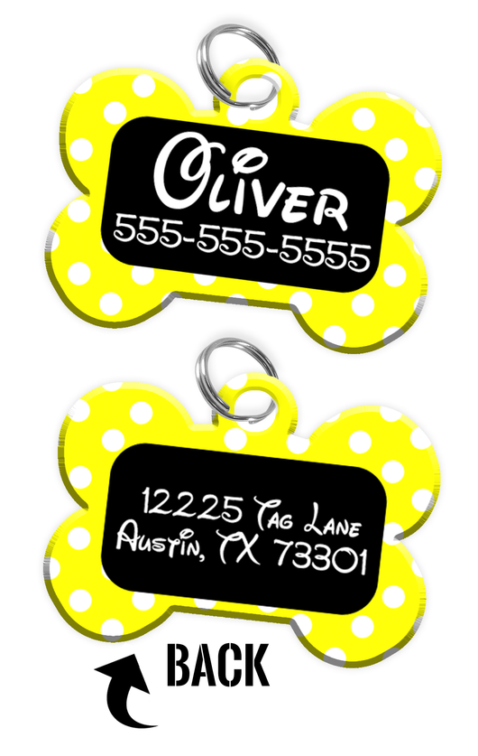 Double-sided Yellow Polka Dot Custom Dog Tag Personalized for Pets with Name & Number on the front & address on the back (Disney pet tag themed) | ElitePetFan.com