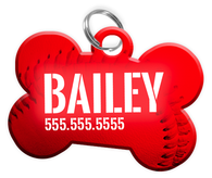 Baseball (Red) Dog Tag for Pets Personalized Custom Pet Tag with Pets Name & Contact Number [Multiple Font Choices] [USA COMPANY