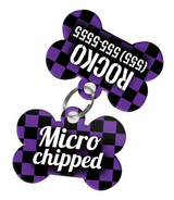 Checkered (Purple) Dog Tag for Pets - Microchipped Tag & Personalized Custom Pet Tag with Pets Name & Contact Number (Two Tags) | ElitePetFan.com