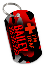 I'M DEAF (Red) Camo Dog Tag for Deaf Dogs & Deaf Cats Personalized Custom Pet Tag with Pets Name & Contact Number - EliteFanCo