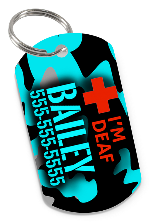 I'M DEAF (Teal) Camo Dog Tag for Deaf Dogs & Deaf Cats Personalized Custom Pet Tag with Pets Name & Contact Number - EliteFanCo