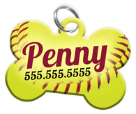 Softball Dog Tag for Pets Personalized Custom Pet Tag with Pets Name & Contact Number [Multiple Font Choices] [USA COMPANY