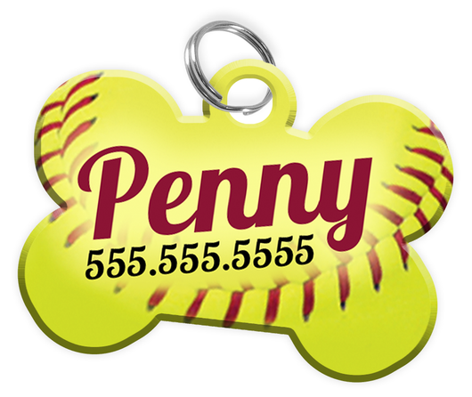 Softball Dog Tag for Pets Personalized Custom Pet Tag with Pets Name & Contact Number [Multiple Font Choices] [USA COMPANY | ElitePetFan.com
