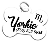 Scorpio Zodiac Sign Dog Tag for Pets Personalized Custom Pet Tag with Pets Name & Contact Number [Multiple Font Choices] [USA COMPANY] | ElitePetFan.com