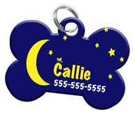 Moon and Stars Dog Tag for Pets Personalized Custom Pet Tag with Pets Name & Contact Number [Multiple Font Choices] [USA COMPANY]