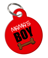 Mama's Boy Custom double-sided Dog Tag for Pets or Cat Tag with Personalized Pets Name & Contact Number on the back