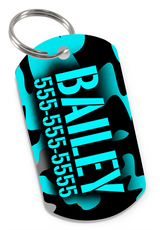 Camo (Teal) Dog Tag for Pets Personalized Custom Pet Tag with Pets Name & Contact Number [USA COMPANY]