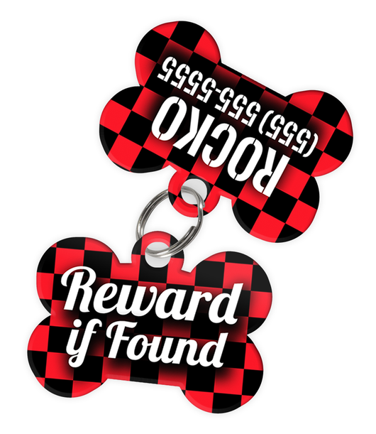 Checkered (Red) Dog Tag for Pets - Reward if Found Tag & Personalized Custom Pet Tag with Pets Name & Contact Number (Two Tags) - EliteFanCo