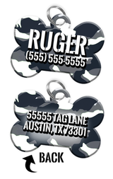 Double-sided Camo White Custom Dog Tag Personalized for Pets with Name & Number on the front & address on the back | ElitePetFan.com