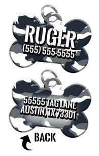 Double-sided Camo White Custom Dog Tag Personalized for Pets with Name & Number on the front & address on the back