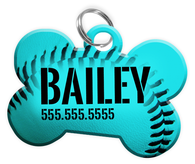 Baseball (Teal) Dog Tag for Pets Personalized Custom Pet Tag with Pets Name & Contact Number [Multiple Font Choices] [USA COMPANY]