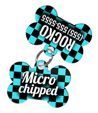 Checkered (Turquoise) Dog Tag for Pets - Microchipped Tag & Personalized Custom Pet Tag with Pets Name & Contact Number (Two Tags) - EliteFanCo