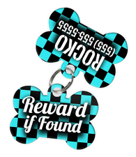 Checkered (Turquoise) Dog Tag for Pets - Reward if Found Tag & Personalized Custom Pet Tag with Pets Name & Contact Number (Two Tags) - EliteFanCo