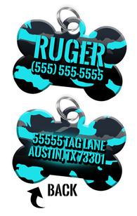 Double-sided Camo Turquoise Custom Dog Tag Personalized for Pets with Name & Number on the front & address on the back | ElitePetFan.com