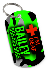 I'M DEAF (Green) Camo Dog Tag for Deaf Dogs & Deaf Cats Personalized Custom Pet Tag with Pets Name & Contact Number - EliteFanCo