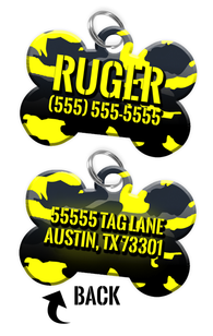 Double-sided Camo Yellow Custom Dog Tag Personalized for Pets with Name & Number on the front & address on the back | ElitePetFan.com