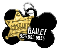Funny DOG SHERIFF Dog Tag for Pets Personalized Custom Pet Tag with Pets Name & Contact Number [Multiple Font Choices] [USA COMPANY]