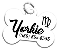 Virgo Zodiac Sign Dog Tag for Pets Personalized Custom Pet Tag with Pets Name & Contact Number [Multiple Font Choices] [USA COMPANY]