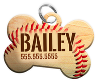 Baseball Dog Tag for Pets Personalized Custom Pet Tag with Pets Name & Contact Number [Multiple Font Choices] [USA COMPANY]