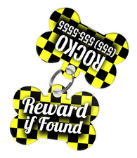 Checkered (Yellow) Dog Tag for Pets - Reward if Found Tag & Personalized Custom Pet Tag with Pets Name & Contact Number (Two Tags) - EliteFanCo