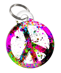 Peace Love Custom double-sided Dog Tag for Pets or Cat Tag with Personalized Pets Name & Contact Number on the back