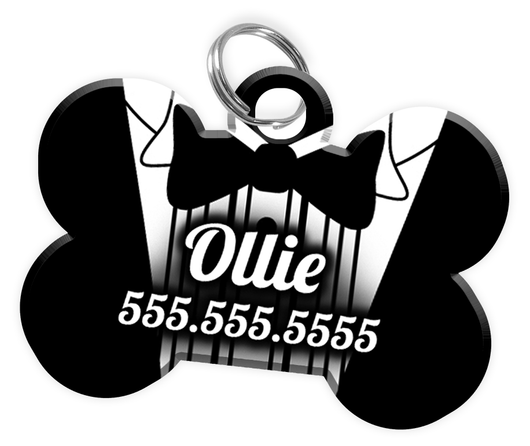 Funny Tuxedo Dog Tag for Pets Personalized Custom Pet Tag with Pets Name & Contact Number [Multiple Font Choices] [USA COMPANY] | ElitePetFan.com