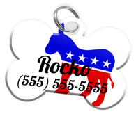 Democrat Party Dog Tag for Pets Personalized Custom Pet Tag with Pets Name & Contact Number [Multiple Font Choices] [USA COMPANY]