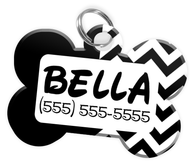 Chevron (Black) Dog Tag for Pets Personalized Custom Pet Tag with Pets Name & Contact Number [Multiple Font Choices] [USA COMPANY]