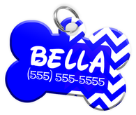 Chevron (Blue) Dog Tag for Pets Personalized Custom Pet Tag with Pets Name & Contact Number [Multiple Font Choices] [USA COMPANY]