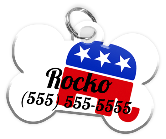 Republician Party Dog Tag for Pets Personalized Custom Pet Tag with Pets Name & Contact Number [Multiple Font Choices] [USA COMPANY] | ElitePetFan.com