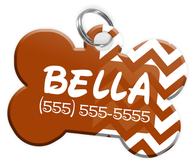 Chevron (Brown) Dog Tag for Pets Personalized Custom Pet Tag with Pets Name & Contact Number [Multiple Font Choices] [USA COMPANY]