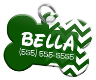 Chevron (Green) Dog Tag for Pets Personalized Custom Pet Tag with Pets Name & Contact Number [Multiple Font Choices] [USA COMPANY]