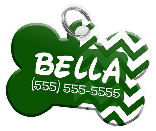 Chevron (Green) Dog Tag for Pets Personalized Custom Pet Tag with Pets Name & Contact Number [Multiple Font Choices] [USA COMPANY] - EliteFanCo