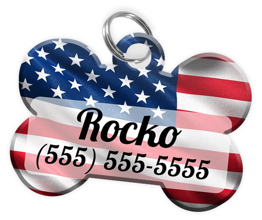 USA Flag Dog Tag for Pets Personalized Custom Pet Tag with Pets Name & Contact Number [Multiple Font Choices] [USA COMPANY]