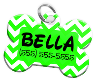 Chevron (Light Green) Dog Tag for Pets Personalized Custom Pet Tag with Pets Name & Contact Number [Multiple Font Choices] [USA COMPANY]