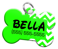 Chevron (Light Green) Dog Tag for Pets Personalized Custom Pet Tag with Pets Name & Contact Number [Multiple Font Choices] [USA COMPANY] - EliteFanCo