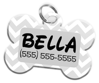 Chevron (Grey) Dog Tag for Pets Personalized Custom Pet Tag with Pets Name & Contact Number [Multiple Font Choices] [USA COMPANY]