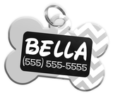 Chevron (Grey) Dog Tag for Pets Personalized Custom Pet Tag with Pets Name & Contact Number [Multiple Font Choices] [USA COMPANY] | ElitePetFan.com