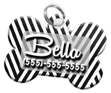 Stripe Pattern (Grey) Dog Tag for Pets Personalized Custom Pet Tag with Pets Name & Contact Number [Multiple Font Choices] [USA COMPANY] | ElitePetFan.com