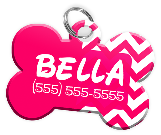 Chevron (Hot Pink) Dog Tag for Pets Personalized Custom Pet Tag with Pets Name & Contact Number [Multiple Font Choices] [USA COMPANY] - EliteFanCo