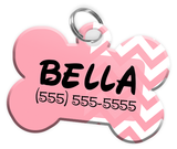 Chevron (Pink) Dog Tag for Pets Personalized Custom Pet Tag with Pets Name & Contact Number [Multiple Font Choices] [USA COMPANY]