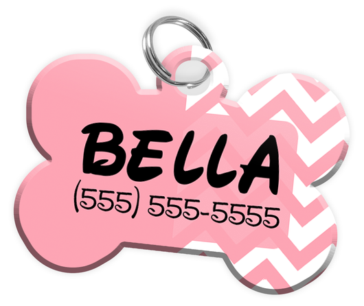 Chevron (Pink) Dog Tag for Pets Personalized Custom Pet Tag with Pets Name & Contact Number [Multiple Font Choices] [USA COMPANY] | ElitePetFan.com