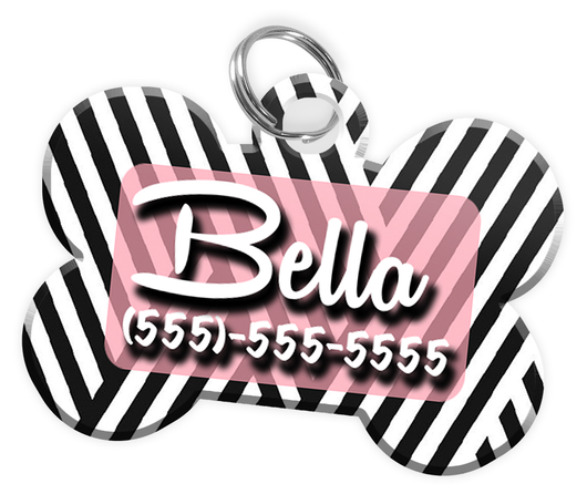 Stripe Pattern (Pink) Dog Tag for Pets Personalized Custom Pet Tag with Pets Name & Contact Number [Multiple Font Choices] [USA COMPANY]
