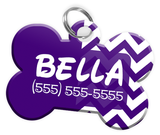 Chevron (Purple) Dog Tag for Pets Personalized Custom Pet Tag with Pets Name & Contact Number [Multiple Font Choices] [USA COMPANY] | ElitePetFan.com
