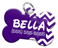 Chevron (Purple) Dog Tag for Pets Personalized Custom Pet Tag with Pets Name & Contact Number [Multiple Font Choices] [USA COMPANY]