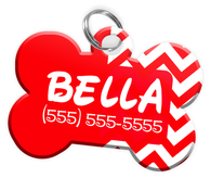 Chevron (Red) Dog Tag for Pets Personalized Custom Pet Tag with Pets Name & Contact Number [Multiple Font Choices] [USA COMPANY]