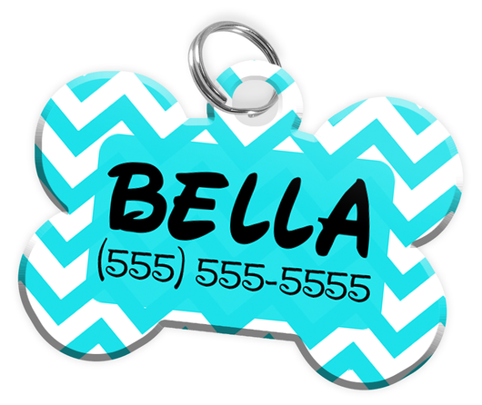 Chevron (Turquoise) Dog Tag for Pets Personalized Custom Pet Tag with Pets Name & Contact Number [Multiple Font Choices] [USA COMPANY] | ElitePetFan.com